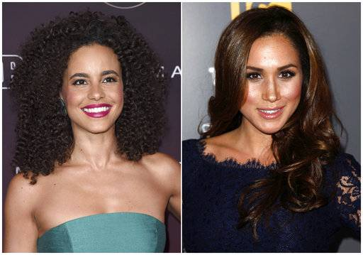 "In this combination photo, actress Parisa Fitz-Henley attends the 5th annual People Magazine ""Ones To Watch"" party on Oct. 4, 2017, in Los Angeles, left, and actress Meghan Markle attends the USA Network and The Moth's ""A More Perfect Union: Stories of Prejudice and Power"" event in West Hollywood, Calif. on Feb. 15, 2012. Fitz-Henley will portray Markle in the Lifetime film, ""Harry & Meghan: The Royal Love Story."""
