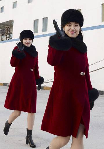 Members of the North Korean arts troupe arrive at the Mukho port in Gangwon-do province, South Korea, Wednesday, Feb. 7, 2018. The troupe's visit is to coincide with the Pyeongchang 2018 Olympic Games that start Feb. 9. (Song Kyeong-seok, Kyodo News/Pool Photo via AP)