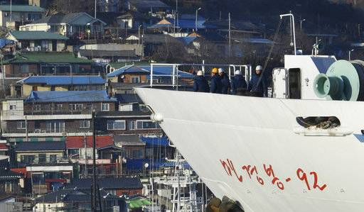 North Korean ship Mangyongbong-92 carrying art troupe members arrives at Mukho port in Donghae, South Korea Tuesday, Feb. 6, 2018. The art troupe, led by Hyon Song Wol, also the leader of the famous Moranbong girl band hand-picked by North Korean leader Kim Jong Un, will perform in Gangneung and Seoul on Feb. 8 and Feb. 11, respectively, before returning home. (Song Kyung-Seok/Pool Photo via AP)