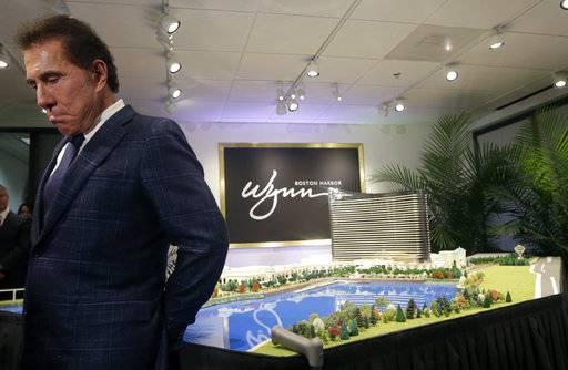FILE- This March 15, 2016, file photo shows casino mogul Steve Wynn during a news conference in Medford, Mass. Facing investigations by gambling regulators and allegations of sexual misconduct, Wynn has stepped down as chairman and CEO of the resorts bearing his names. The Las Vegas-based Wynn Resorts in a statement said Wynn's resignation Tuesday, Feb. 6, 2018, was effective immediately. Wynn has vehemently denied the report's allegations.