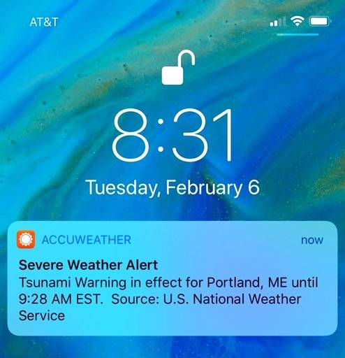 Some people on the East Coast got a push alert on their phones Tuesday, Feb. 6, 2018, about a tsunami warning, but the National Weather Service says it was just a test. Meteorologist Hendricus Lulofs said there was a glitch Tuesday during a routine test.