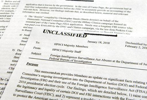 An intelligence memo is photographed in Washington, Friday, Feb. 2, 2018. After President Donald Trump declassified the memo, the Republican-led House Intelligence Committee released the memo based on classified information that alleges the FBI abused U.S. government surveillance powers in its investigation into Russian election interference. (AP Photo/Susan Walsh)The Associated Press