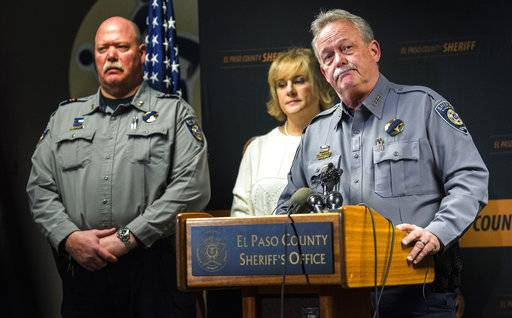 El Paso County Sheriff Bill Elder speaks during a press conference at the the El Paso County Sheriff's Office in Colorado Springs, Colo., Tuesday, Feb. 6, 2018, regarding the Monday shooting that left deputy Micah Flick dead and three other law enforcement officers wounded during an investigation of a motor vehicle theft in a Colorado Springs apartment complex. The suspect was killed and one citizen injured. (Christian Murdock/The Gazette via AP)