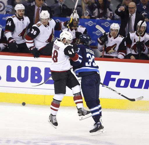 Arizona Coyotes' Jordan Martinook (48) is hit by Winnipeg Jets' Dustin Byfuglien (33) during first period NHL hockey action in Winnipeg, Manitoba Tuesday, Feb. 6, 2018. (Trevor Hagan/The Canadian Press via AP)