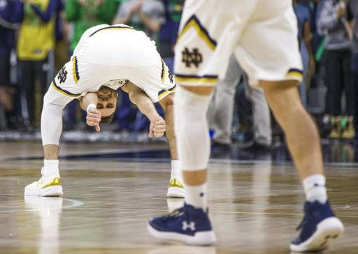Notre Dame's Matt Farrell gestures between his legs during the second half of an NCAA college basketball game against Boston College on Tuesday, Feb. 6, 2018, in South Bend, Ind. Notre Dame won 96-85.