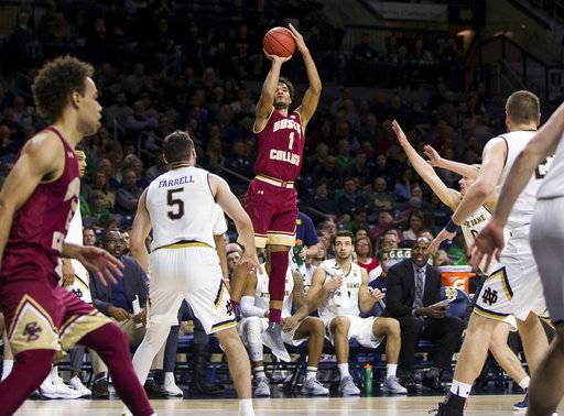 Boston College's Jerome Robinson (1) shoots a 3-pointer during the first half of an NCAA college basketball game against Notre Dame on Tuesday, Feb. 6, 2018, in South Bend, Ind. Notre Dame won 96-85.