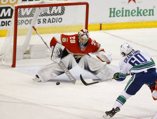 Vancouver Canucks center Markus Granlund (60) scores against Florida Panthers goaltender Harri Sateri (29) during the second period of an NHL hockey game Tuesday, Feb. 6, 2018, in Sunrise, Fla.