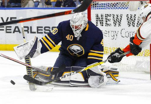 Buffalo Sabres goalie Robin Lehner (40) makes a save during the second period of an NHL hockey game against the Anaheim Ducks, Tuesday, Feb. 6, 2018, in Buffalo, N.Y.
