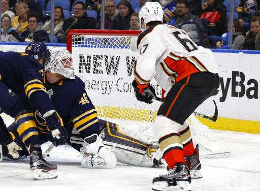 Anaheim Ducks forward Rickard Rakell (67) puts the puck past Buffalo Sabres goalie Robin Lehner (40) during the second period of an NHL hockey game, Tuesday, Feb. 6, 2018, in Buffalo, N.Y.