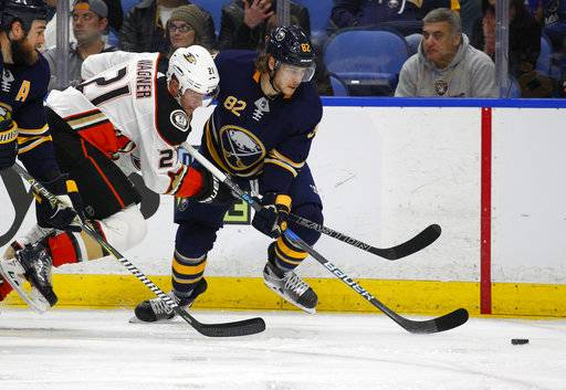 Buffalo Sabres defenseman Nathan Beaulieu (82) takes the puck from Anaheim Ducks forward Chris Wagner (21) during the second period of an NHL hockey game, Tuesday, Feb. 6, 2018, in Buffalo, N.Y.