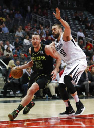 Atlanta Hawks center Miles Plumlee (18) drives against Memphis Grizzlies center Marc Gasol (33) in the first half of an NBA basketball game Tuesday, Feb. 6, 2018, in Atlanta.