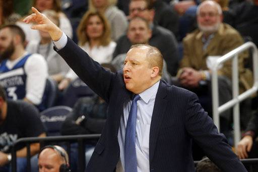 Minnesota Timberwolves head coach Tom Thibodeau directs his team in the second half of an NBA basketball game against the New Orleans Pelicans, Saturday, Feb. 3, 2018, in Minneapolis.