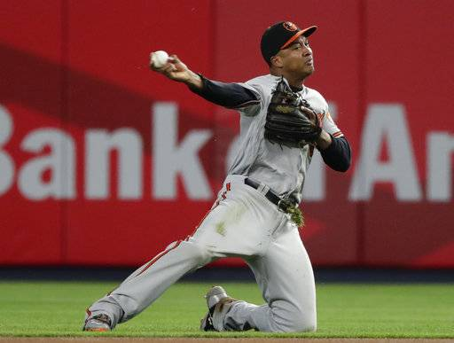 FILE - In this Sept. 14, 2017, file photo, Baltimore Orioles second baseman Jonathan Schoop throws out New York Yankees' Ronald Torreyes at first base during the first inning of a baseball game in New York. Schoop and the Baltimore Orioles have agreed to an $8.5 million, one-year contract on Tuesday, Feb. 6, 2018.