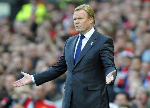 FILE -  In this file photo dated Sunday, Sept. 17, 2017, Everton manager Ronald Koeman gestures during the English Premier League soccer match between Manchester United and Everton at Old Trafford in Manchester, England.  The Dutch Football Association on Tuesday Feb. 6, 2018, signed former Everton and Southampton coach Koeman to take charge of the struggling Netherlands national soccer team.