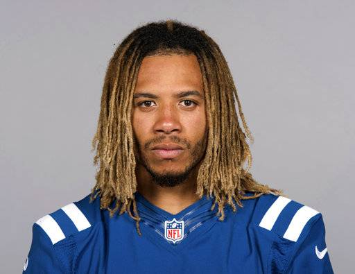 "FILE - This June 13, 2017 file photo shows Indianapolis Colts football player Edwin Jackson.  Jackson, 26, was one of two men killed when a suspected drunken driver struck them as they stood outside their car along a highway in Indianapolis. The Colts said in a statement Sunday, Feb. 4, 3018, that the team is ""heartbroken"" by Jackson's death. Authorities say the driver that struck them before dawn on Sunday tried to flee on foot but was quickly captured."