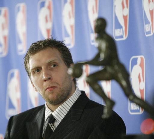FILE - In this May 15, 2007, file photo, Dallas Mavericks forward Dirk Nowitzki, of Germany, looks at the Maurice Podoloff Trophy during a news conference in Dallas, where he was awarded the NBA's Most Valuable Player for the 2006-07 seasons. Now in his 20th season, Nowitzki is comfortable with the idea that he led the Mavericks to their first championship and can try to help a younger core build toward making Dallas a title contender again.