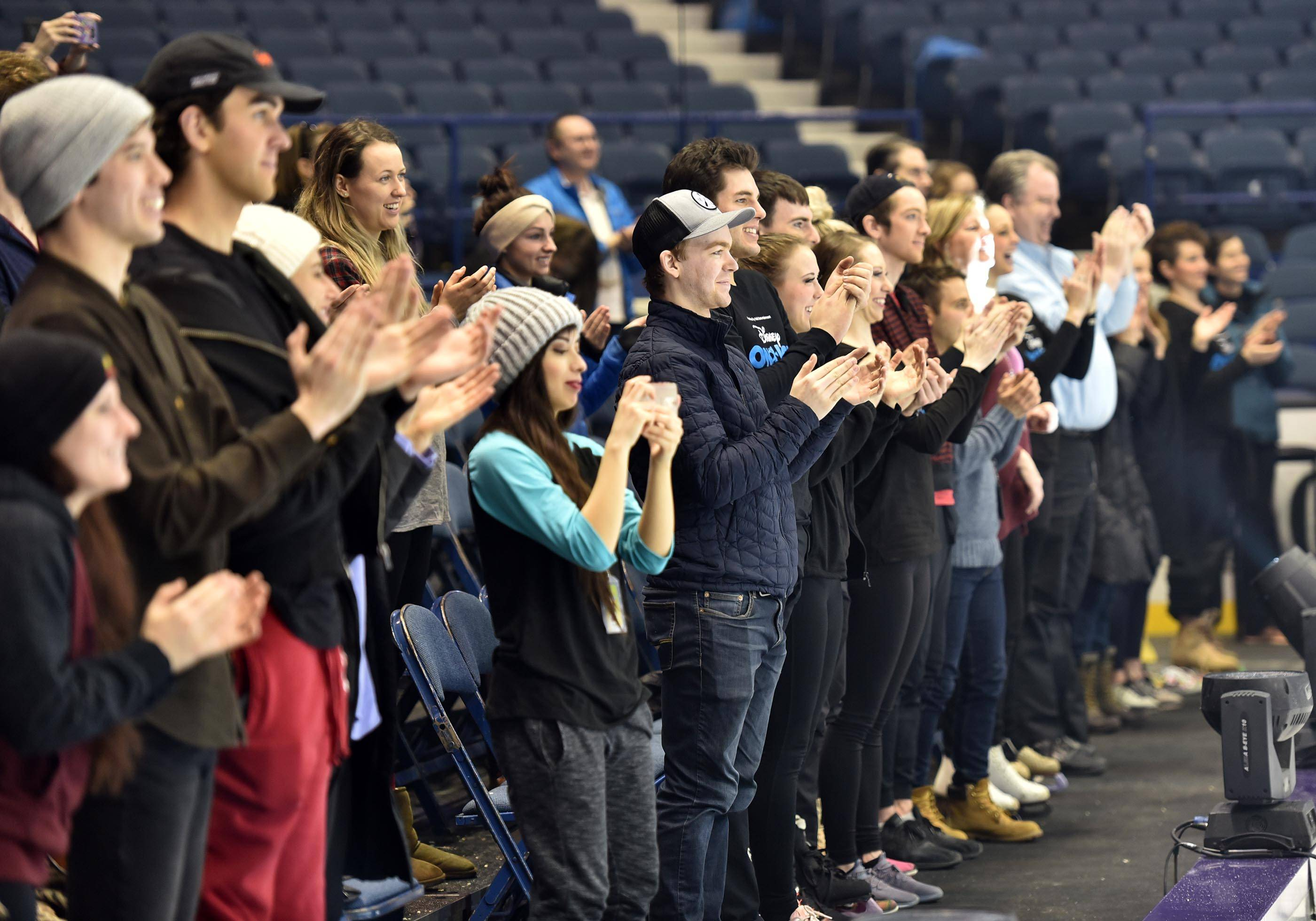 "Performers from Disney On Ice ""Dare To Dream"" show applaud former Special Olympians from Chicagoland Ice Theatre Inspirations after they performed at the Allstate Arena."