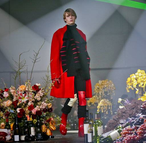 Fashion from Raf Simons men's collection is modeled during Fashion Week, Wednesday, Feb. 7, 2018, in New York.