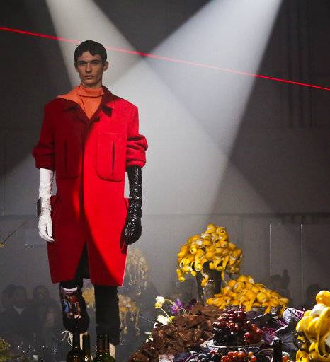 Fashion from Raf Simons men's collection is modeled during Fashion Week, Wednesday Feb. 7, 2018, in New York.
