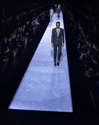 Tom Ford men's collection is modeled during Men's Fashion Week in New York, Tuesday, Feb. 6, 2018.