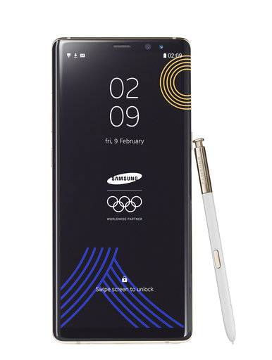 FILE - This image provided by Samsung shows a Galaxy Note 8 Olympic Games phone. Samsung Electronics donated the limited edition phones for athletes and officials at the International Olympic Committee so that they can document every moment and share their memories with the world. The Winter Olympic Games organizer is in limbo whether handing out the device to North Koreans and Iranians would violate global sanctions. (Samsung via AP, File)