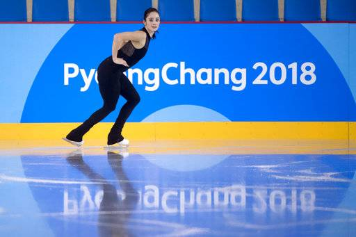 Canada's Kaetlyn Osmond performs her routine during a practice session at the Gangneung Ice Arena ahead of the 2018 Winter Olympics in Gangneung, South Korea, Wednesday, Feb. 7, 2018. (Paul Chiasson/The Canadian Press via AP)