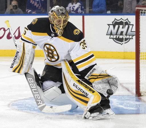 Boston Bruins goaltender Anton Khudobin makes a glove save during the second period of the team's NHL hockey game against the New York Rangers, Wednesday, Feb. 7, 2018, at Madison Square Garden in New York.