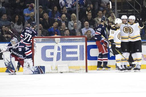 New York Rangers goaltender Henrik Lundqvist (30) gets up as Boston Bruins center Tim Schaller, second from right, celebrates his goal during the second period of an NHL hockey game Wednesday, Feb. 7, 2018, at Madison Square Garden in New York.