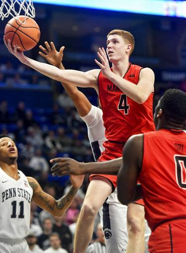 Maryland's Kevin Huerter goes in for a basket against Penn State during an NCAA college basketball game Wednesday, Feb. 7, 2018, in State College, Pa. (Abby Drey/Centre Daily Times via AP)
