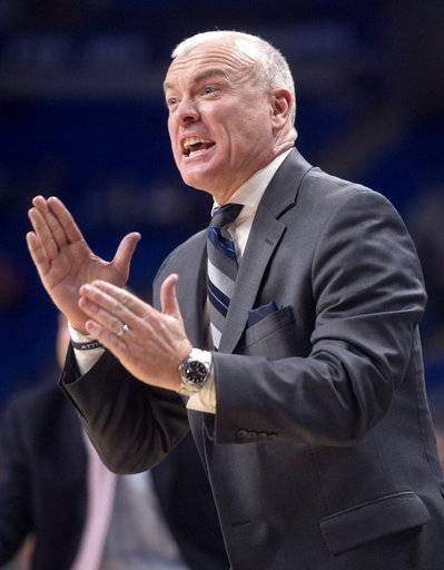 Penn State coach Patrick Chambers reacts to a call during an NCAA college basketball game against Maryland on Wednesday, Feb. 7, 2018 at the Bryce Jordan Center. (Abby Drey/Centre Daily Times via AP)