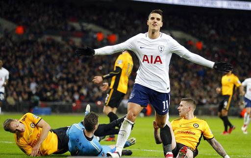 Tottenham's Erik Lamela celebrates after scoring his side's second goal during the English FA Cup fourth round replay soccer match between Tottenham Hotspur and Newport County at Wembley Stadium in London, Wednesday, Feb. 7, 2018.