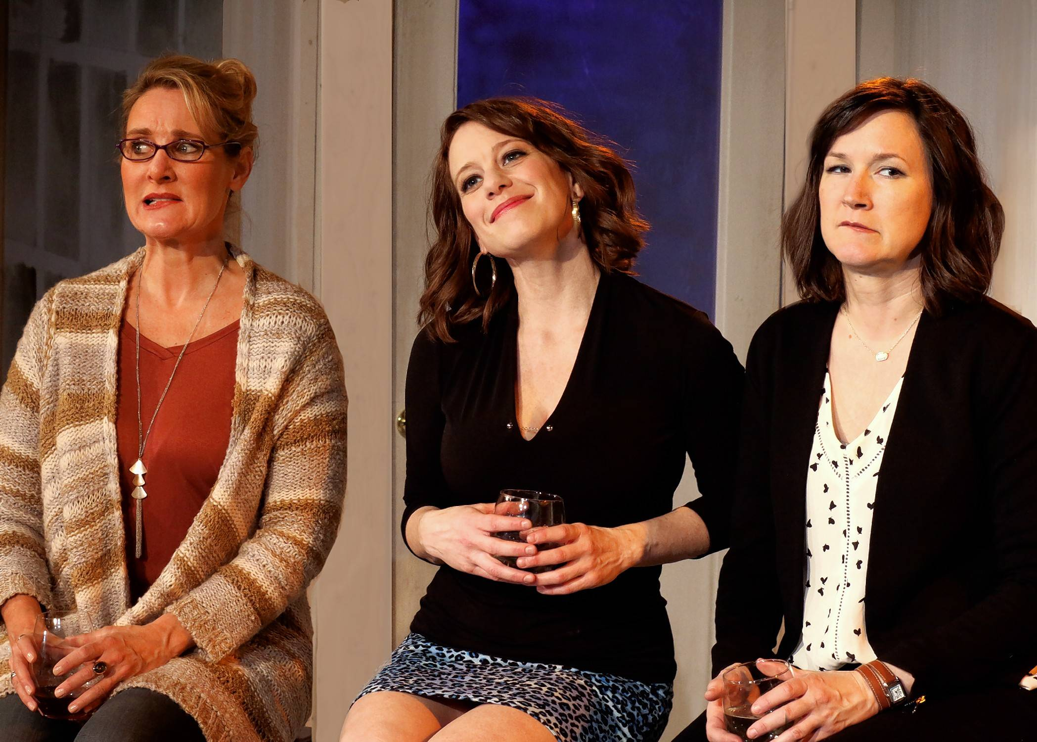 "First Folio Theatre's production of ""Women in Jeopardy"" -- starring Amy Montgomery, left, Melanie Keller and Lydia Berger Gray -- will proceed as scheduled this weekend."