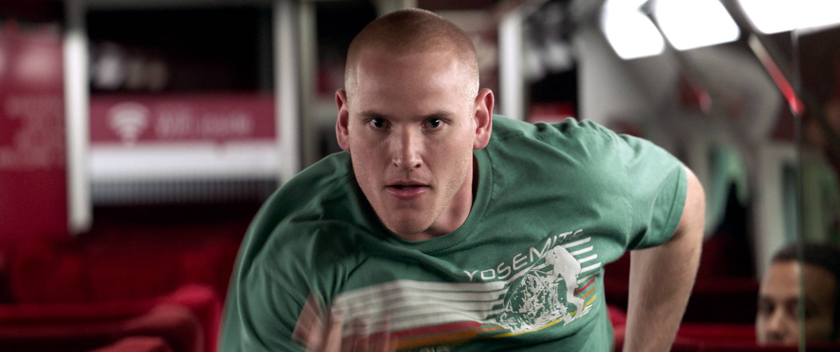 "Spencer Stone springs into action in ""The 15:17"" To Paris."""