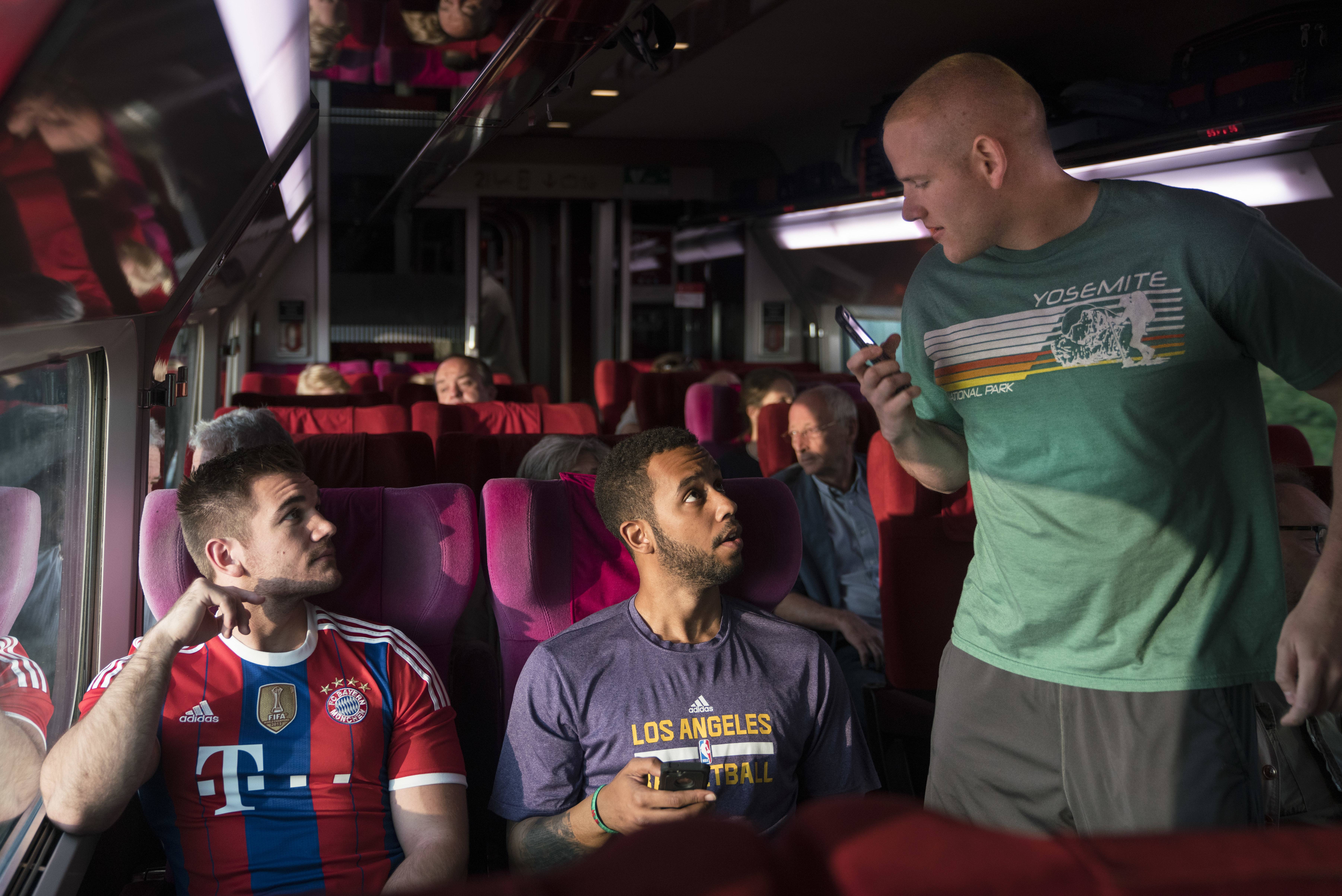 "Spencer Stone, left, Anthony Sadler and Alex Skarlatos star as themselves in ""The 15:17"" To Paris."""