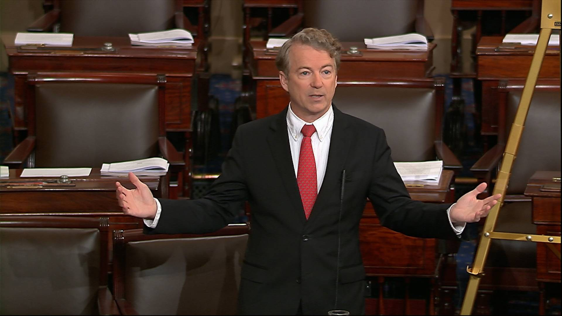 In this image from video from Senate Television, Sen. Rand Paul, R-Ky., speaks on the floor of the Senate Thursday on Capitol Hill in Washington.