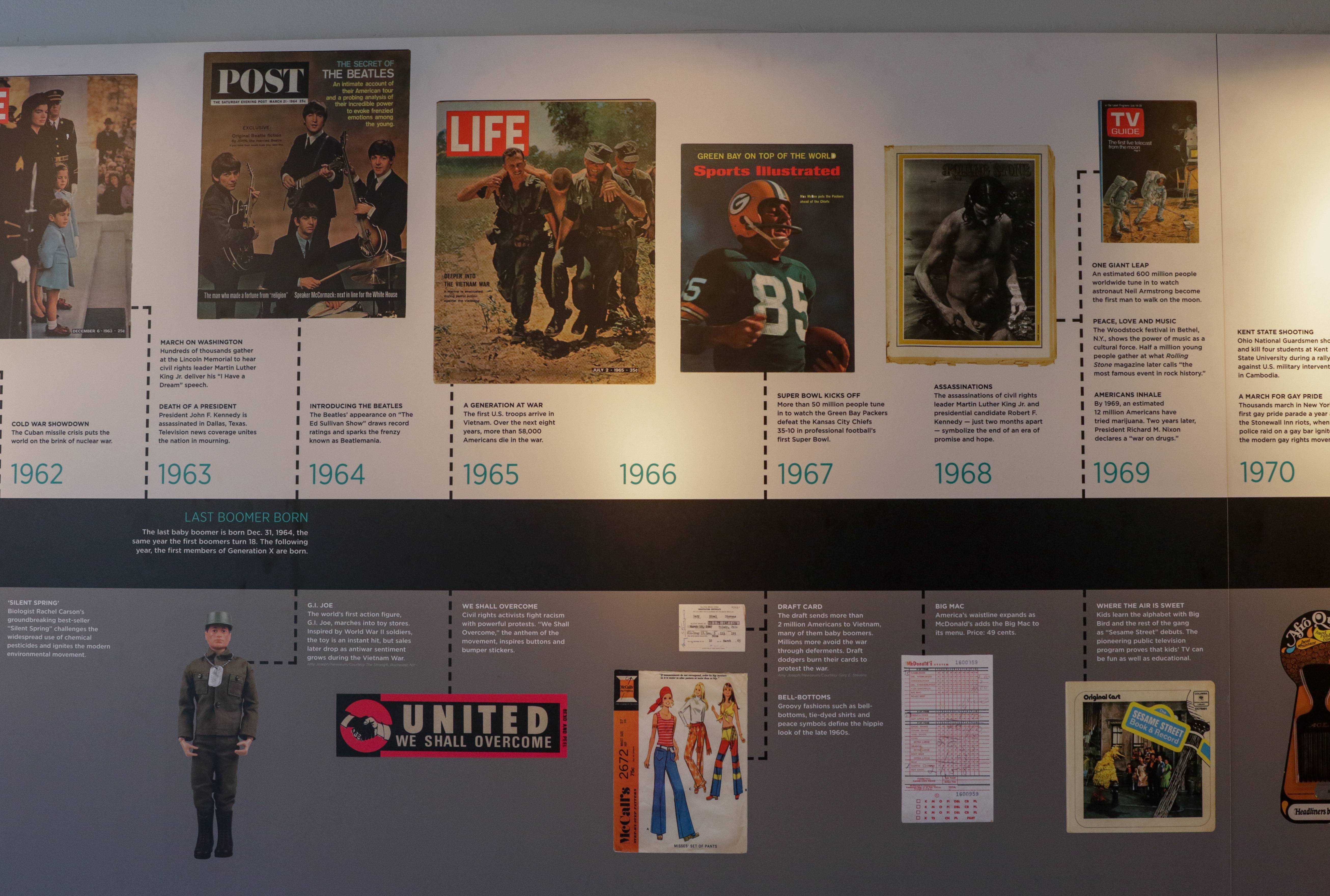 "A timeline in ""The Boomer List"" exhibit helps Baby Boomers remember while teaching other generations about the era's history and culture."