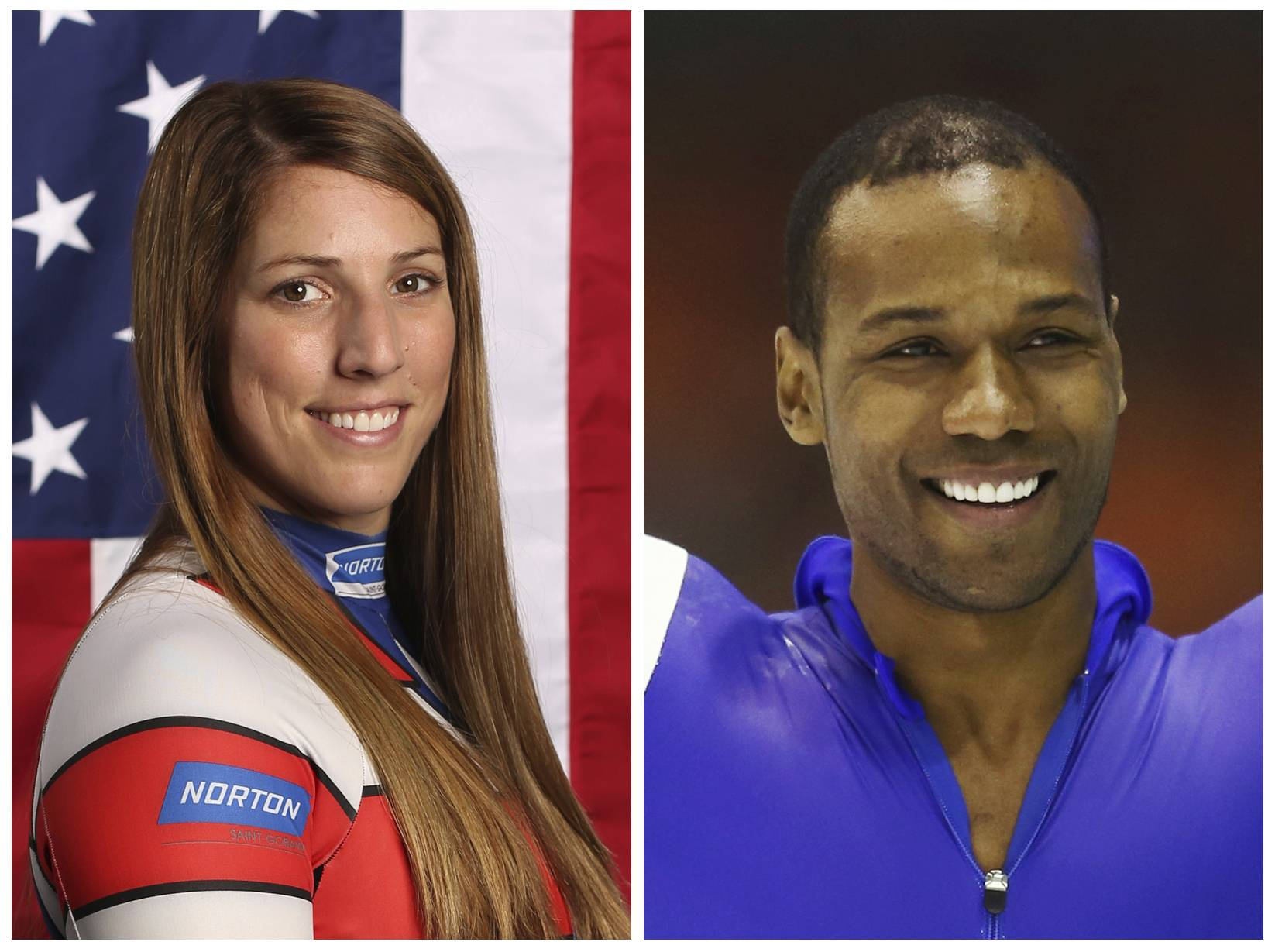 "This combination of images shows United States' athletes Erin Hamlin, left, and Shani Davis. A tweet posted to the account of Davis is blasting the selection of luge athlete Hamlin as the U.S. flagbearer for the opening ceremony at the Pyeongchang Games. The tweet says the selection was made ""dishonorably,"" and included a reference to Black History Month in a hashtag. Hamlin and Davis each got four votes in the final balloting of the athlete-led process."
