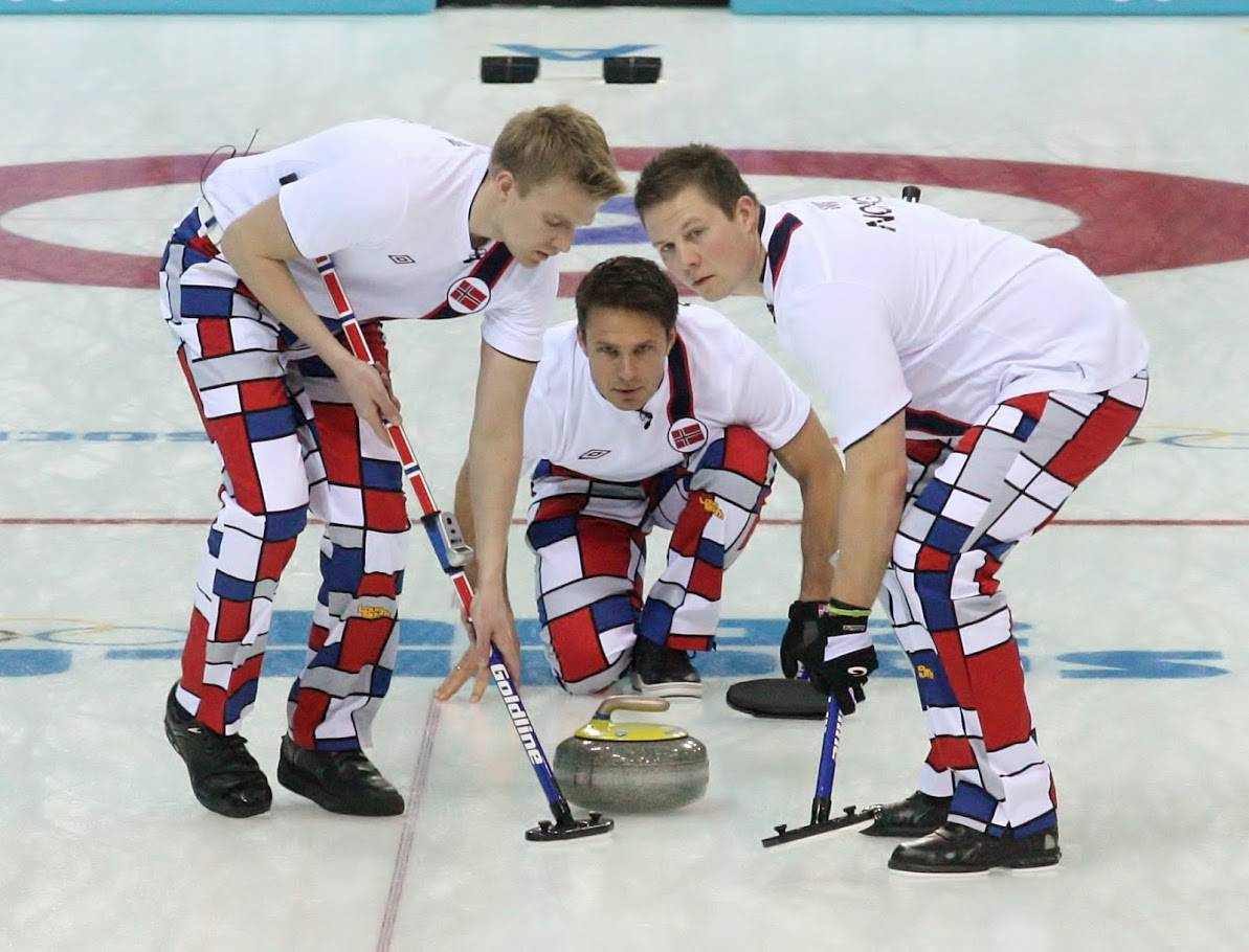 Norway's curlers compete in the 2014 Sochi Winter Games. The Scandinavians are known for their colorful uniforms.