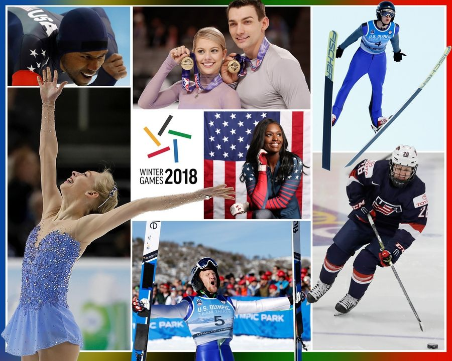 ILLUSTRATION BY PATRICK KUNZER/pkunzer@dailyherald.comSome of the athletes with ties to the suburbs and Chicago to participate in the 2018 PyeongChang Olympics are, clockwise from upper left, speed skater Shani Davis, pairs figure skaters Alexa Scimeca-Knierim and Christopher Knierim, ski jumper Kevin Bickner, women's hockey player Kendall Coyne, ski jumper Michael Glasder, figure skater Bradie Tennell. At center is bobsledder Aja Evans.