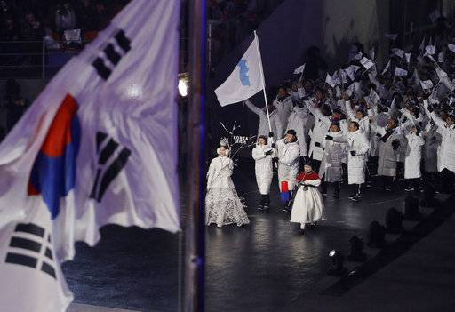 North Korean and South Korean athletes arrive during the opening ceremony of the 2018 Winter Olympics in Pyeongchang, South Korea, Friday, Feb. 9, 2018.