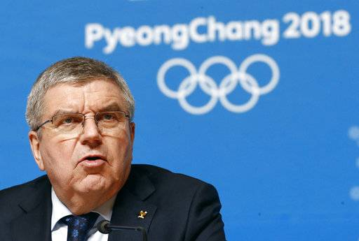 International Olympic Committee President Thomas Bach speaks at a news conference prior to the 2018 Winter Olympics in Pyeongchang, South Korea, Wednesday, Feb. 7, 2018.