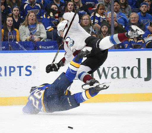 Colorado Avalanche defenseman Nikita Zadorov, right, knocks down St. Louis Blues center Paul Stastny during the first period of an NHL hockey game Thursday, Feb. 8, 2018, in St. Louis. (Chris Lee/St. Louis Post-Dispatch via AP)