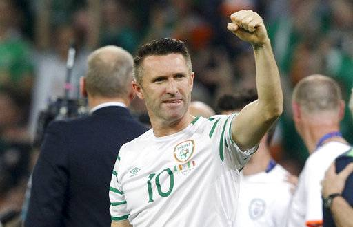 FILE - In this June 22, 2016, file photo, Ireland's Robbie Keane celebrates at the end of the Euro Group E soccer match against Italy in Villeneuve d'Ascq, near Lille, France. In its fourth season, the India Super League (ISL) may be hit by falling attendances but it is increasingly viewed as the future of soccer in the cricket-mad country. In 2014, each of the eight teams fielded big-name marquees that included World Cup winners such as Alessandro Del Piero, Robert Pires, David Trezeguet and Marco Materazzi. This season has a relative lack of star power as Robbie Keane and Dimitar Berbatov, with respective English experience at Liverpool and Manchester United, are the best-known players.