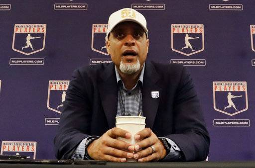 "FIEL - In this Feb. 19, 2017, file photo, Tony Clark, executive director of the Major League Players Association, answers questions at a news conference in Phoenix. Clark sadi Tuesday, Feb. 6, 2018, that the number of rebuilding teams and unsigned free agents in a historically slow market ""threatens the very integrity of our game.� Just 53 of 166 players who exercised their free agency rights last November had announced agreements entering Tuesday, down from 99 of 158 at a similar time last year."