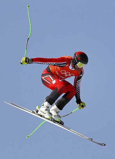 Canada's Manuel Osborne-Paradis makes a jump in Men's Downhill training at the 2018 Winter Olympics in Jeongseon, South Korea, Thursday, Feb. 8, 2018.