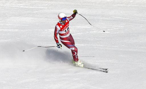 FILE - In this Feb. 6, 2016, file photo, winner Kjetil Jansrud of Norway celebrates after his run during a men's World Cup downhill race, also a test event of the Pyeongchang 2018 Winter Olympics, at the Jeongseon Alpine Centre in Jeongseon, South Korea. The most prized Olympic titles in Alpine skiing will be won this month on downhill courses raced only once before.
