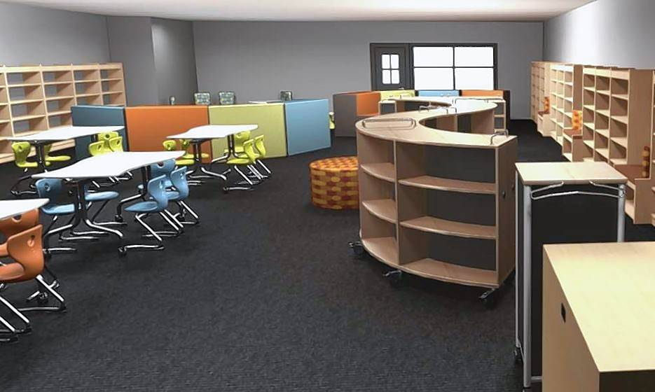 This rendering shows the design of the new Limitless Learning Center that Ellis Elementary School in Round Lake will unveil Tuesday. The center will replace the school's library and computer room that were destroyed by flooding last summer.
