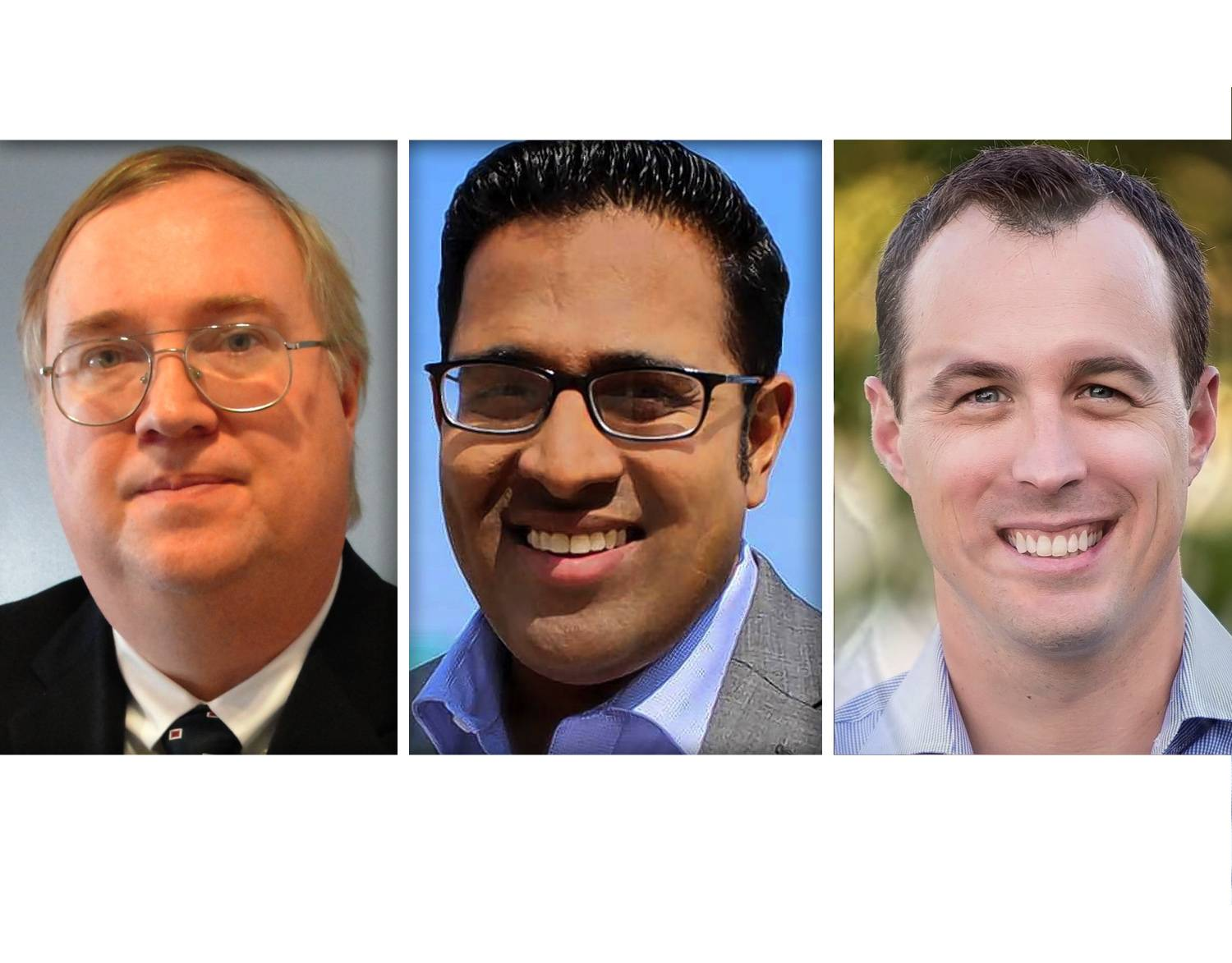 From left, Doug Bennett, Sapan Shah and Jeremy Wynes are the Republican candidates in the 10th Congressional District race.