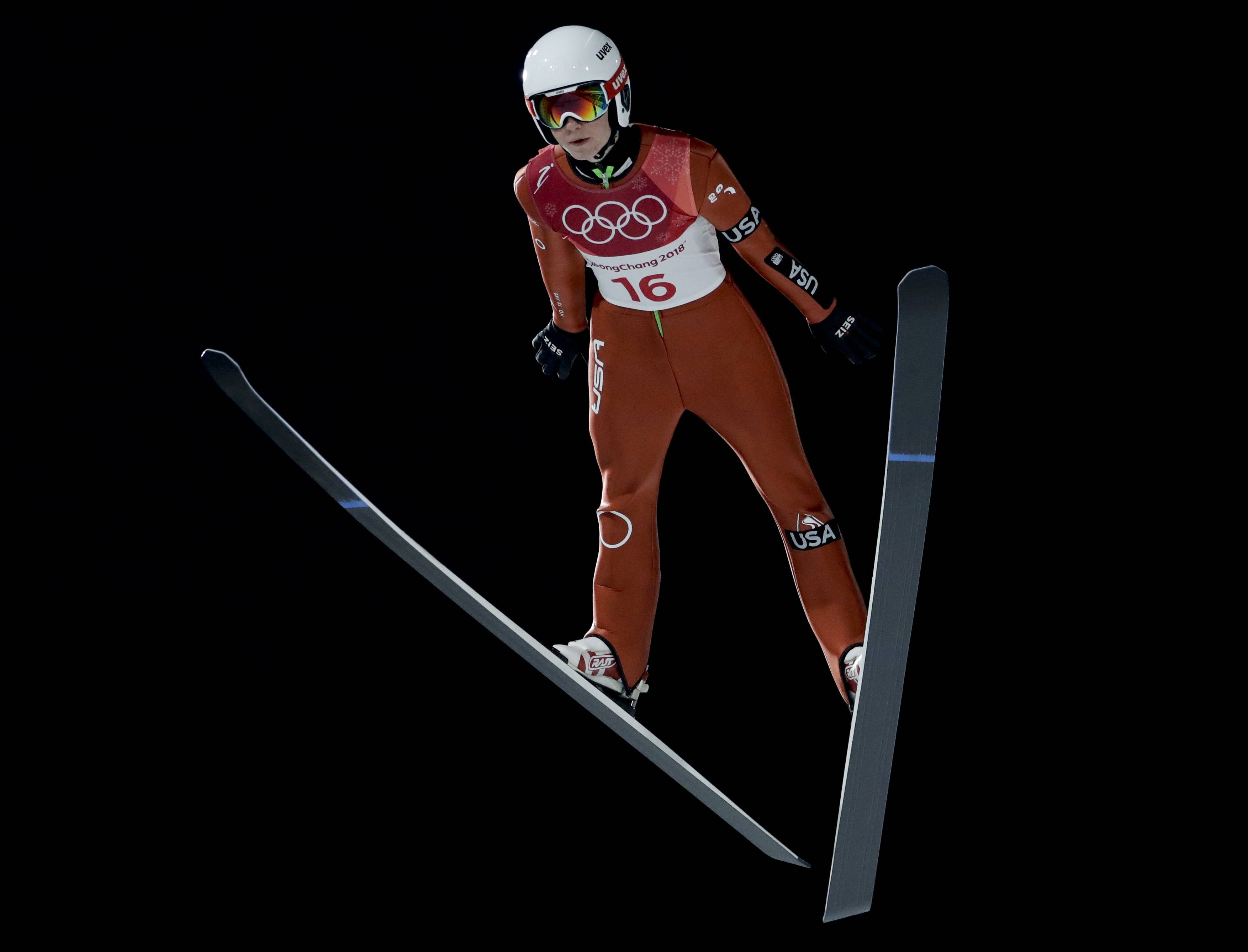 Casey Larson, a Barrington native representing the United States, jumps during the men's normal hill individual ski jumping trial round for qualification on Thursday at the 2018 Winter Olympics in Pyeongchang, South Korea.