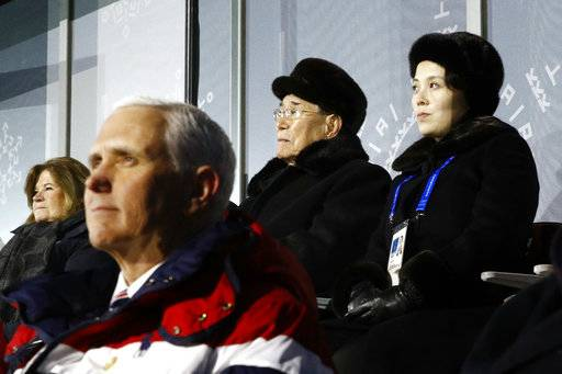 Kim Yo Jong, top right, sister of North Korean leader Kim Jong Un, sits alongside Kim Yong Nam, president of the Presidium of North Korean Parliament, and behind U.S. Vice President Mike Pence as she watches the opening ceremony of the 2018 Winter Olympics in Pyeongchang, South Korea, Friday, Feb. 9, 2018.